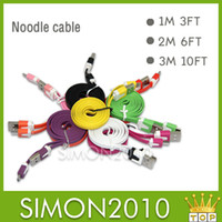 Wholesale Color M FT M FT M FT USB Noodle Flat sync data charger Charging cable cord For samsung blackberry Z10 Nokia