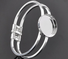 Free shipping, sterling silver 25mm Round Bangle Bracelet Blank Base Tray Bezel Cabochon Setting