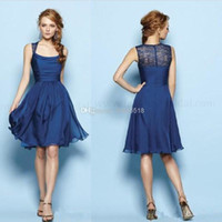 Wholesale 2014 Cheap Elegant Spring Simple Cheap Royal Blue Scoop Sleeveless Empire A Line Knee Length Chiffon Bridesmaid Evening Gowns Prom Dresse