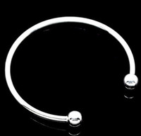 Wholesale Silver Plated Smooth Bangle Bracelets Fit European Charm Bead mm