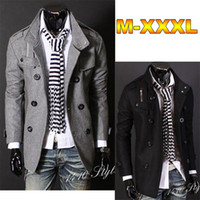 Wholesale Fashion Men s Winter Woolen Coat Warm Overcoat Slim Fit Double Breasted Vintage Outwear Coats Business Suit Top Cardigan AWD0401