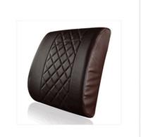 Acheter Oreillers de soutien lombaire-Bureau de New Car Home Check confortable mémoire de modèle en cuir de mousse de soutien lombaire président Coussin Oreiller