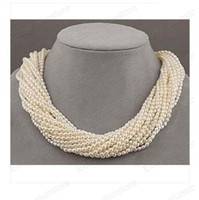 Beaded Necklaces Bohemian Women's 12Strs akoya white seed pearl beads twist necklace
