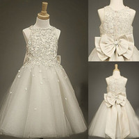Wholesale 2014 Cheap Lace Tulle Sheer Girl s Flower Dresses with Bow Baby Formal Occasion First Communion Party Prom Skirt Charming Real Pictures