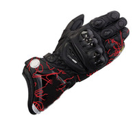 Leather leather material - Newest printing GP PRO motorcycle sports racing gloves materials long style leather motorcross motorbike gloves M L XL