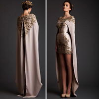 Wholesale 2014 Special Krikor Jabotian Two Piece Prom Dresses Crew Neck Applique with Bead Mini Length Detachable Shawl Long Train Formal Prom Gown