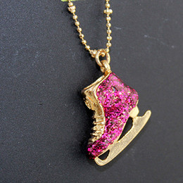 Wholesale Fashion Jewelry Hot Selling Gold Color Alloy Cute Rhinestone Ice Skate Shoes Pendant Necklace for Women