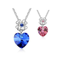 Pendant Necklaces Women's Fashion Mix Item And Color 2014 Korea Fashion Gold Plated Heart Crystal Flower Statement Necklace