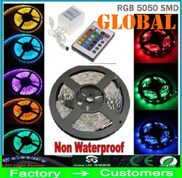 70M 5050 SMD RGB LED Strip Lights Flexible 300LEDs 5M roll non waterproof DC 12V +24 Key Controller Home indoor Christmas lighting Via DHL