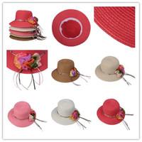 Wholesale Sun Protection Women Straw Beach Hat Caps Summer Lady Wide Brim Hats Sun Hat Chiffon Flowers Decorated DWA