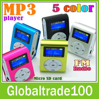 Wholesale Mini Clip Mp3 Player With LCD Screen amp FM Radio Earphones Retail Box Support Micro SD Card Free DHL Shipping