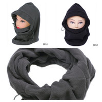 Wholesale New Scarves Colors Polyester Thermal Fleece Balaclava Hood Ski Bike Face Mask in Beanies Cap Hat Set DPA