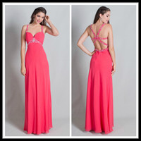 Wholesale Stylish Sheath Chiffon Celebrity Party Dresses Sheer Sweetheart Beading Floor Length Evening Gowns Hollow Back