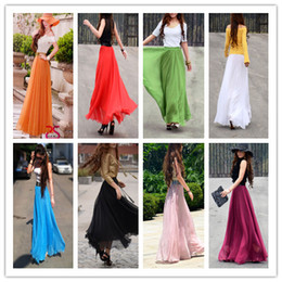 Wholesale Hot Sales Women lady long skirts Real photo Elastic waist Double Flouncing Wild Pleated Beach Chiffon Maxi Full Length skirts With Line