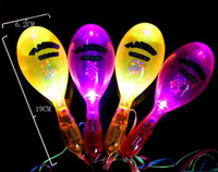 Wholesale DHL Shipping SHAKING BELL Flashing Maracas luminous rattles LED Yellow Red Light Sensory Kids Toy Party