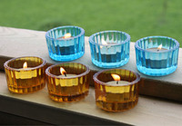 Glass lighted cup holder - Decorative Color Tea Light Holder Wedding Candle Cup Stand Party Decoration SH282