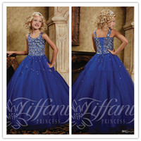 Reference Images Girl Beads QM-2014 New Tiffany Princess Designer Flower Girl Dress Royal Blue Spageatti Beads Floor Length Ball Gowns Little Girls Party Dresses