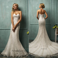 Trumpet/Mermaid Reference Images Sweetheart 2014 Luxury Amelia Sposa Ivory Bare Back Wedding dress Beach Bridal Gown Mermaid Sweetheart Appliques Crystal Covered Button Sweep-Train