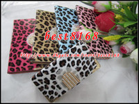Wholesale Bling Leopard Diamond Rhinestone buckle Wallet Leather Pouch For Iphone G S G S C credit card skin Chrome Gold case Lanyard Strap