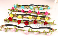 Headbands Mix colors Bohemian Brand New Bride Bohemian Flower Headband Festival Wedding Floral Garland Hair Band Headwear Hair Accessories for Women free shipping CX0020
