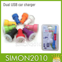 Wholesale Colorful Dual USB Port Mini Car Charger Cigarette A A Auto Power Adapter for iphone G S G ipad Samsung S5 HTC Blackberry