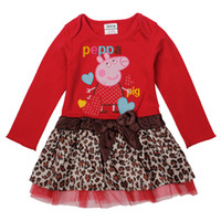 Wholesale H4715 Kids Clothing Nova baby dresses leopard print dress girl peppa pig red long sleeve lace dress for spring autumn