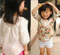baby jumper - 2015 Baby girl Crochet Lace T shirts Kids girl rosette floral blouse white princess hallow out jumper tops babies clothes