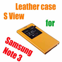 For Samsung Plastic  Best!!!Smart S view Open Window IC chip Sleep Wake PU Flip Leather Back Battery Cover Case For Samsung Galaxy Note 3 N9000 seven--eleven