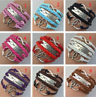 Wholesale Antique Silver One direction band Heart Infinity Leather Bracelet charm Wristbands Xmas Gift Brazil world cup Bracelets