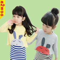 Wholesale 2014 New Baby Girls Striped Pure Cotton Casual Set Rabbit Long sleeved T shirt Sleeveless Dress Children Suit Autumn Clothings Melee