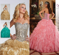 Wholesale New Arrival Gold Pink Crystals Sequins Quinceanera Dresses Ball Gown lace up Beads RufflesTiers Girl s Prom Pageant Gowns Custom