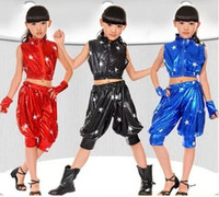 Wholesale Sixty one children hip hop performers of modern jazz dance clothes costumes for boys and girls dance star new paint leather clothes