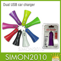 Wholesale A2 Colorful Trumpet buglet mini universal Dual USB car charger for phone samsung phone tablet PC