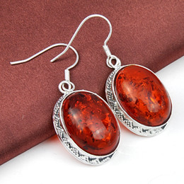 Wholesale 5pcs Christmas Jewelry Gift Lucky Stone Antique Amber Silver Drop Earrings E0047