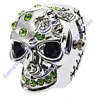 Wholesale pc Unisex Alloy Quartz Ring Watch with Crystal Skull Pattern Assorted Colors Fashion Finger Ring Watch