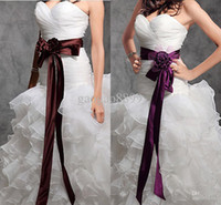Wholesale Best Selling Cheap Beaded Beading Ribbon Satin Bridal Sashes Belts For Wedding Evening Bridal Accessories Purple Burgundy