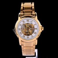 Wholesale Factory Direct High Quality Luxury Watch Gold Stainless Steel Roma Numbers Hands Mens Mechanical Automatic Watch Fast Ship by foksy
