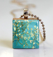 Pendant Necklaces almond van gogh - Almond Blossoms Vincent Van Gogh Painting Scrabble Tile Pendant with Ball Chain Necklace Included scrabble tile necklace jewelry
