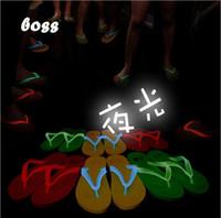 Wholesale Hot Sale New luminous fluorescent color jelly double color with lovers beach flip flops