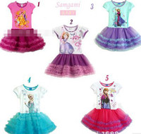 Wholesale DHL EMS ARAMAX FREE Frozen Girl Child Kids Dress Princess Anna Elsa Short Sleeve Children Pompon Gauze Baby Girls Party Tutu Dresses B3304