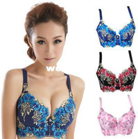 Wholesale C C C C High Quality Deep V Brand Sexy Big Size Push Up Bra Floral Embroidery Lace women Underwear Bras