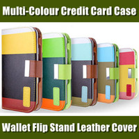 Cheap MULTI-COLOUR Wallet Credit Card Holder Flip Stand Leather Case Cover for iPhone 5 5G 5S 5C iphone 4 4S Samsung S3 i9300 S4 i9500 S5 Note 3