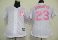 pinstripe baseball jerseys - Ryne Sandberg Authentic Jersey Women quot Cubs quot White Pink Pinstripe Baseball Jerseys Ladies Cool Base Jersey Cheap Mother s Day Gift Sale