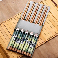 Wholesale Set Pairs Oil Painting Bamboo Panda CHINOISERIE Cutlery Chopsticks