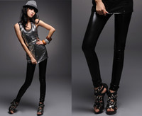 Leggings Skinny,Slim Washed Sexy women Black Wet Look Faux Leather Leggings Treggings Pants Shiny Tights Stretch Comfortable #1967
