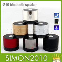 Wholesale Free DHL S10 Metal Mini Portable BeatBox Hi Fi Bluetooth Wireless Speaker TF Slot Handfree Mic Stereo Portable Speakers For iPhone iPad