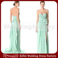 Reference Images Slit Sleeveless Hot Sale Mint Green Chiffon Bridesmaid Dresses A Line Sweetheart Sleeveless Ruched Ruffle Slit Prom Gowns