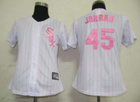 Wholesale Michael Jordan Cool Base Jerseys White Sox White Pink Pinstripe Women Jersey Cheap Stitched Baseball Jerseys Mother s Day Gift for Sale