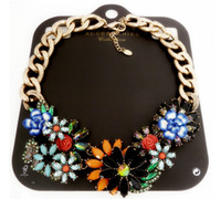 Wholesale 2014 New Design Luxury Flower Pendant Necklace Choker Jewelry Big Chunky Chain Blue Flower Vintage Bib Collar Statement Necklace For Women