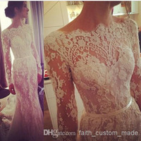 beach scallop - 2014 Lace Wedding Dresses Illusion Long Sleeve Winter Steven Khalil Transparent Bateau Scallop Trim Beaded Court Train Bridal Gowns BY754